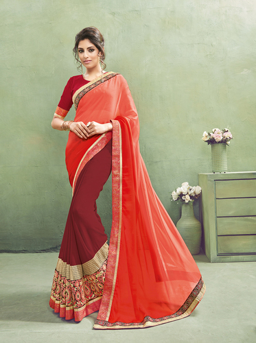 Half & Half Color Georgette Saree
