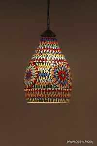 Decorations Handcrafted Glass Hanging Lanterns Lamps Mosaic Lights