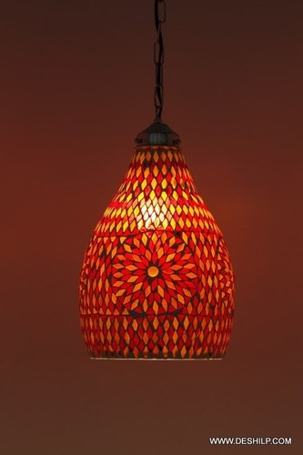 Decorations Handcrafted Glass Hanging Lanterns Lamps Mosaic Lights Handcrafted