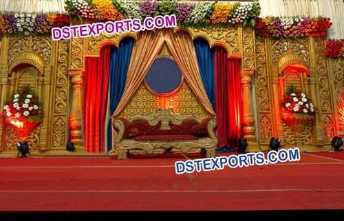 Golden Fiber Carved Wedding Stage