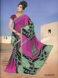 Designer Printed Border Sarees