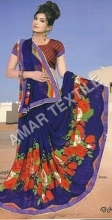 fancy printed Border saree