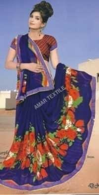 fancy printed Border saree