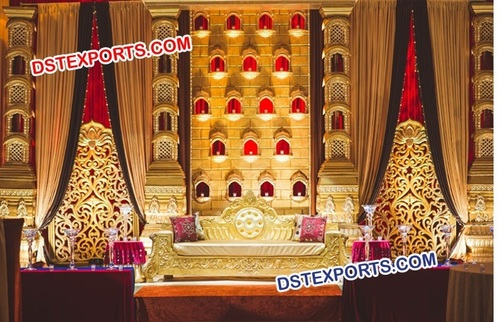 Muslim Wedding Stage With Golden Pillars