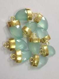 Aqua Chalsydony Horn Gold Plated