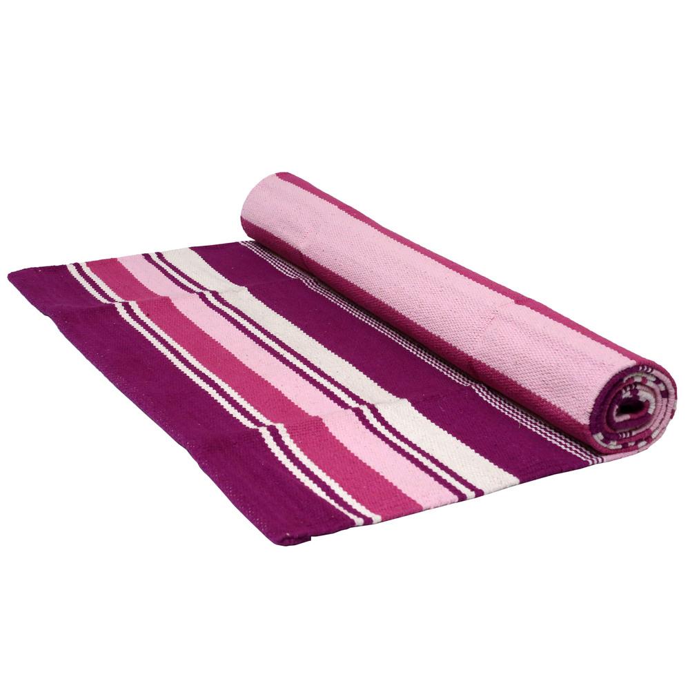 Yoga Rug/ Mat Pink Stripe