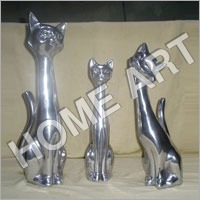 Aluminium Cat Sculpture Set of Three