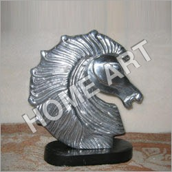 Horse Head On Wooden Base