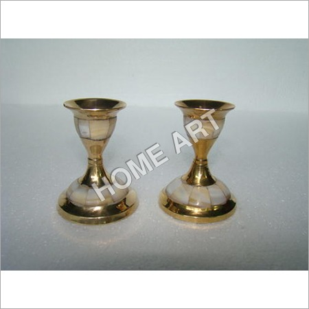 Brass MOP Candle Holder Pair