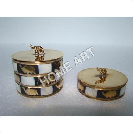 Brass MOP Trinket Box Set