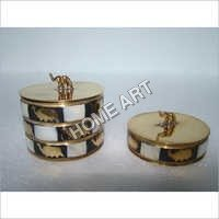Brass MOP Trinket Box Set