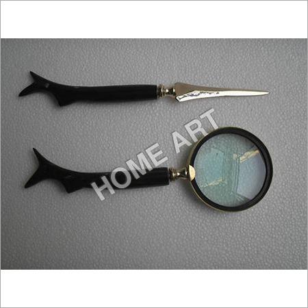 Horn Letter Opener Magnifying Glass Set