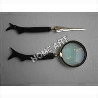 Horn Letter Opener Magnifying Glass Set