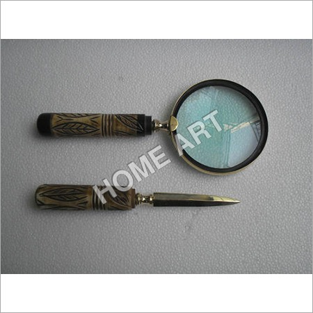 Antique Letter Opener Magnifying Glass Set