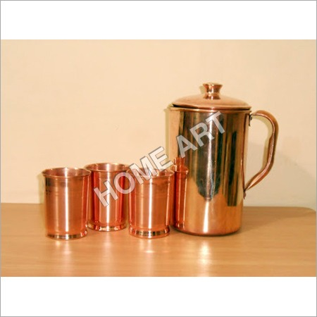 Copper Water Jug with Tumblers