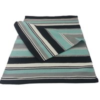 Yoga Rug/ Mat Turq. & Black Stripe