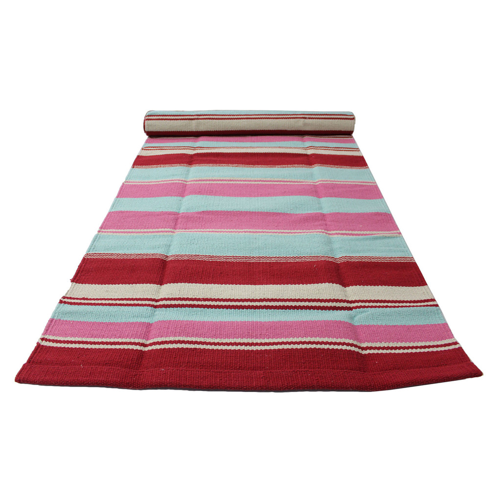 Yoga Rug/ Mat Red & Pink Stripe