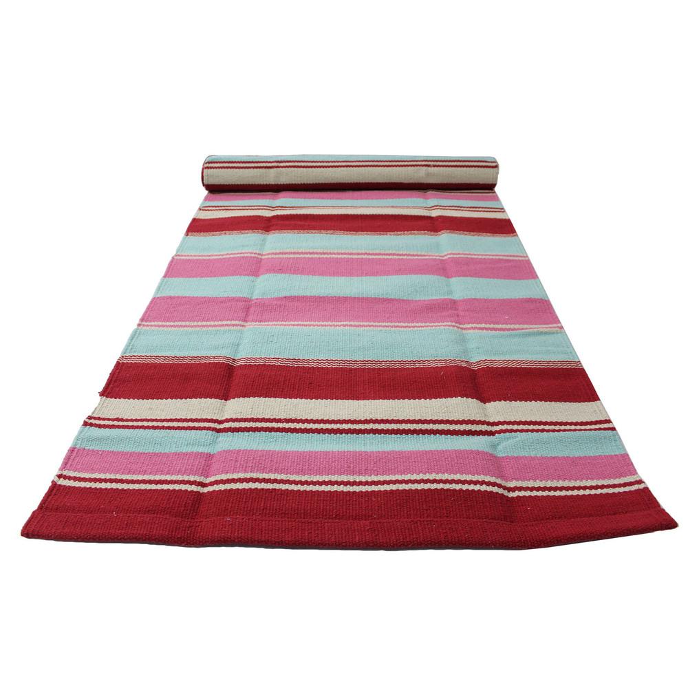 Yoga Rug/ Mat Red & Pink Stripe