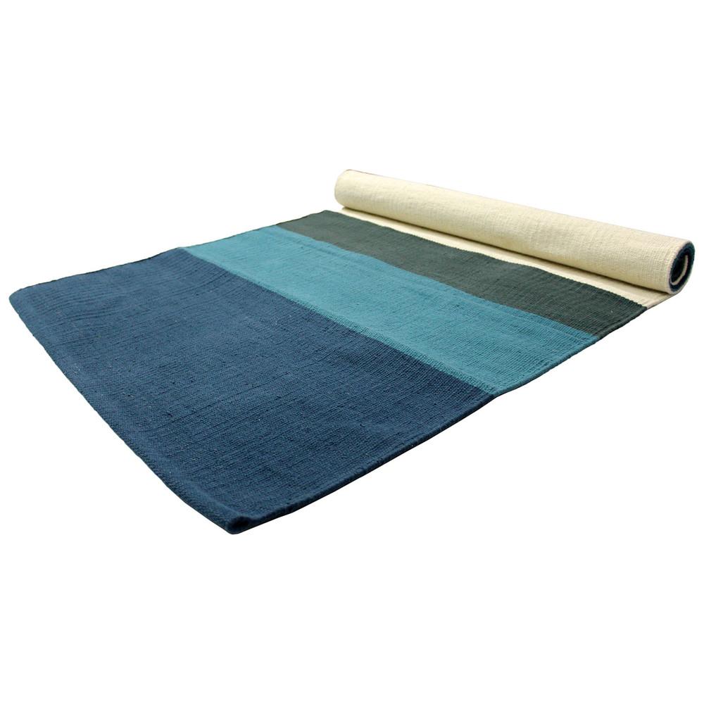Yoga Rug/ Mat Blue & Green Stripe
