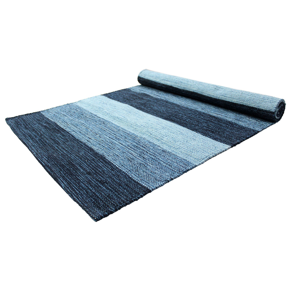 Yoga Rug/ Mat Navy Paddle Stripe