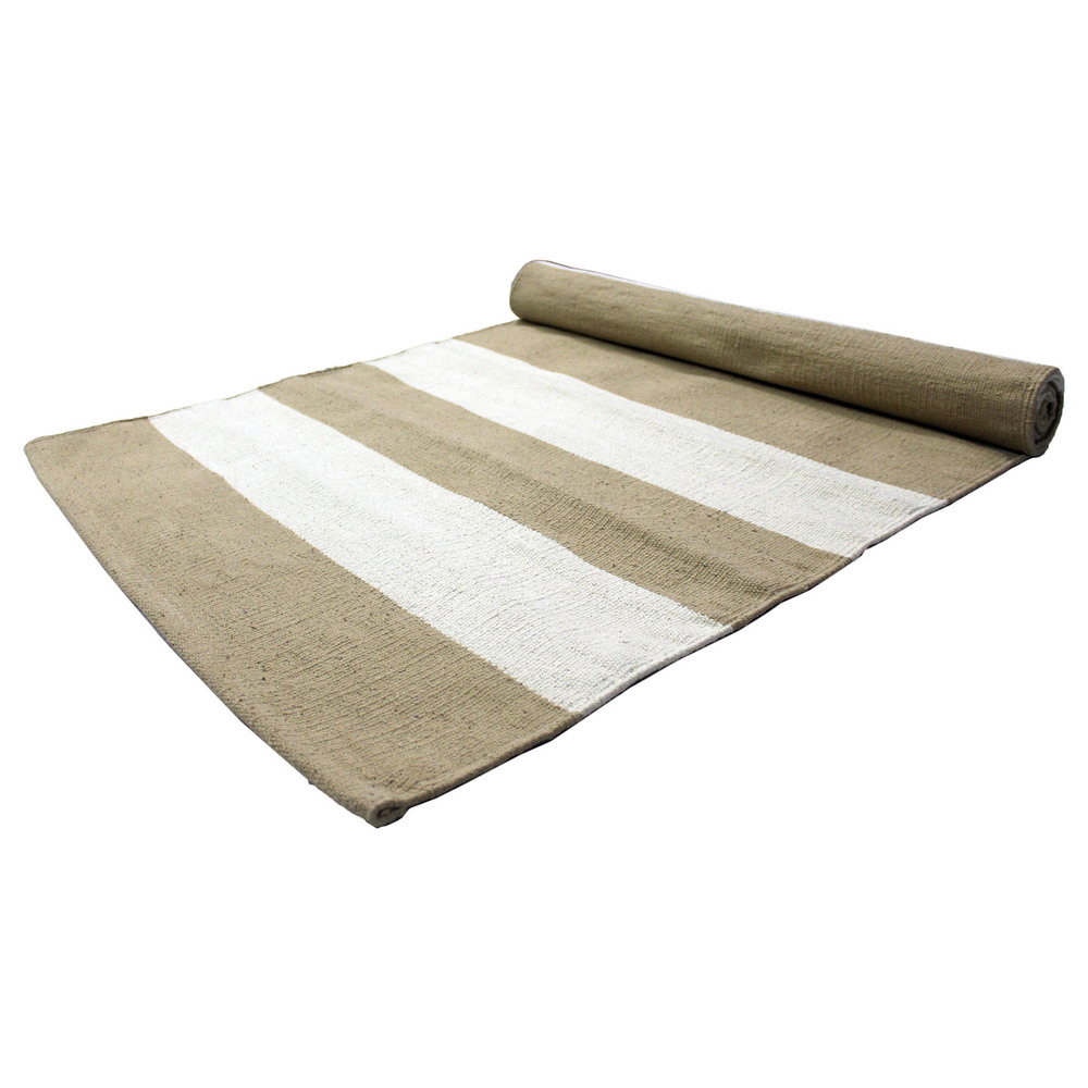 Yoga Rug/ Mat Grey & White Stripe