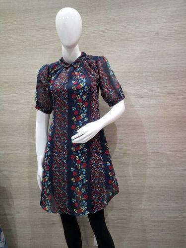 Blue Floral Print English Colllar Dress