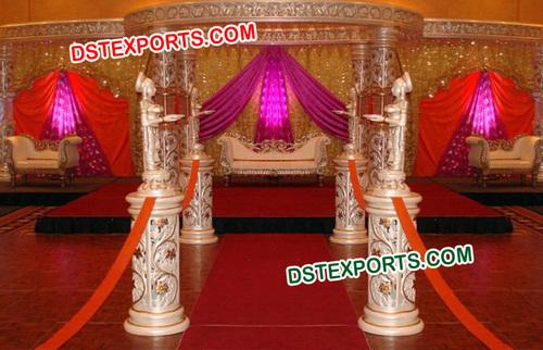 White Golden Fiber Carved Crystal Mandap
