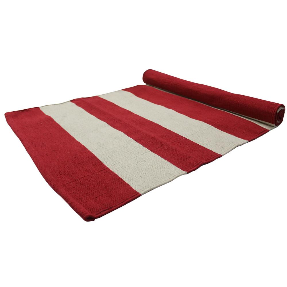 Yoga Rug/ Mat Natural & Red Stripe