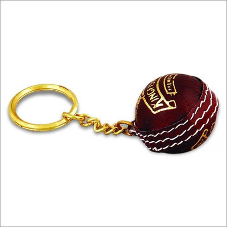 Cricket Ball Shape Keychain