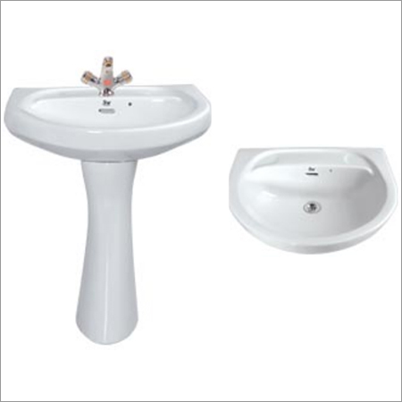 Pedestal Wash Basin In White