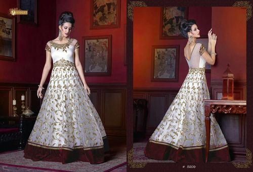 White Attractive Designer Fancy Gown