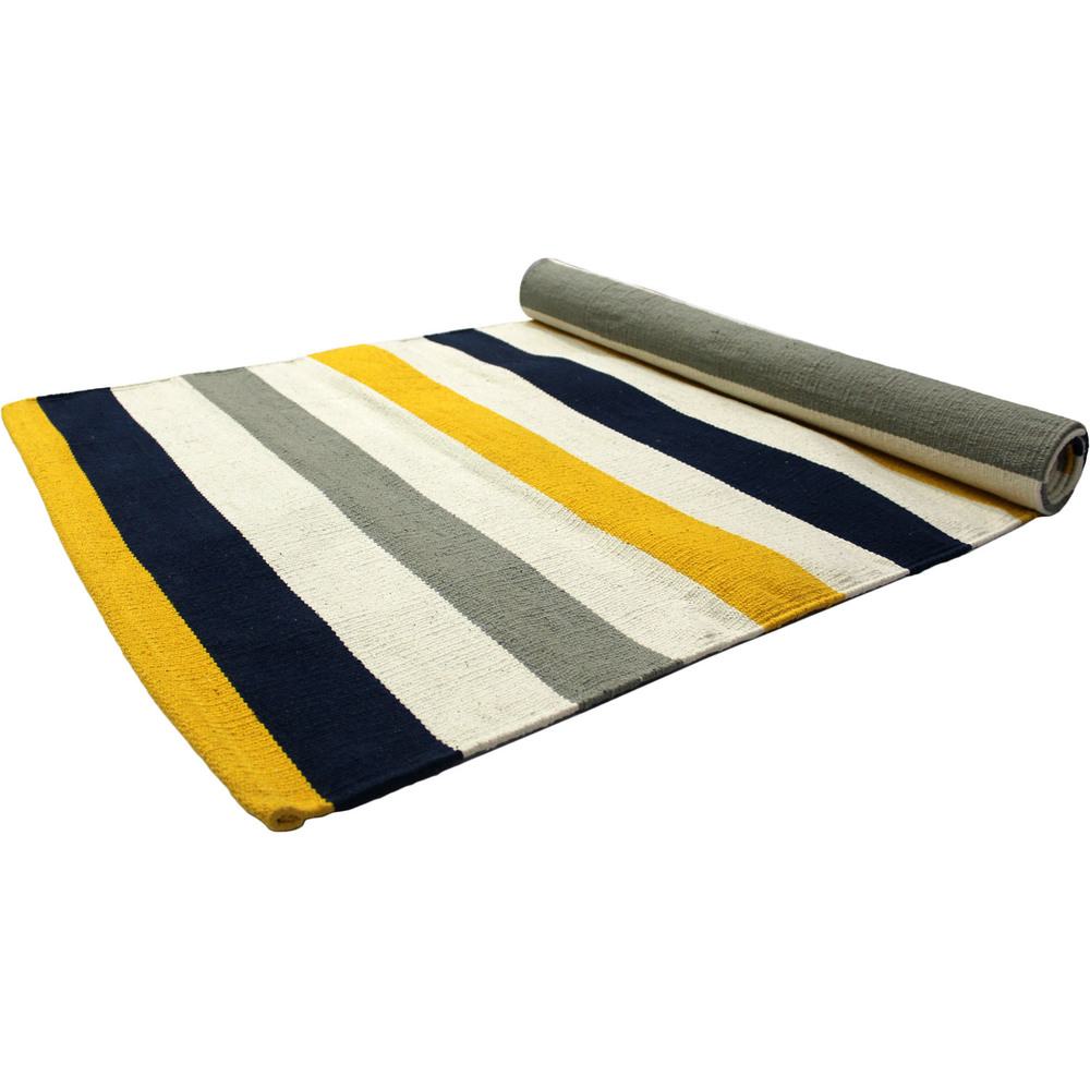 Yoga Rug/ Mat Yellow Stripe