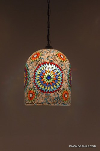 Handcrafted Multicoloured Shaped Mosaic Glass Hanging Light Decorations