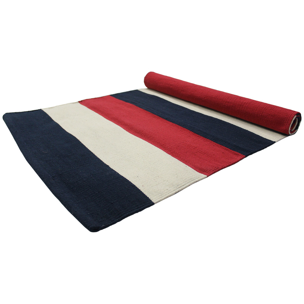 Yoga Rug/ Mat Black & RED Stripe