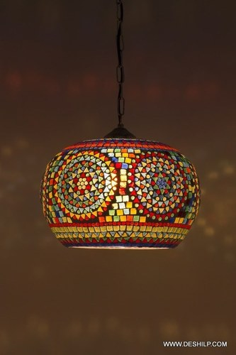 Home and Bazaar Traditional Mosaic Glass Wall Hanging Lamp Antique Hanging Lamp