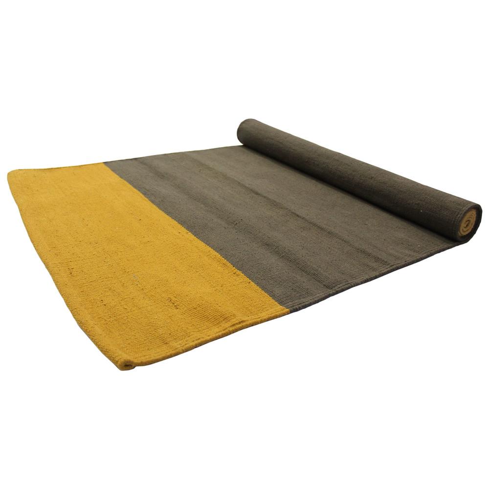 Yoga Rug/ Mat Yellow & Grey Stripe