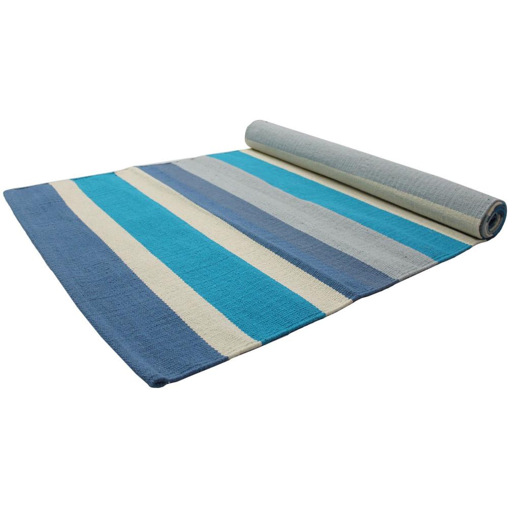Yoga Rug/ Mat Blue & White Stripe