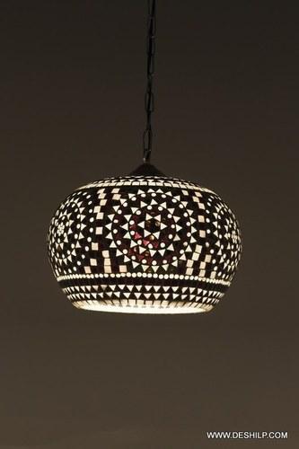 The Brighter Black & White mosaic hanging lamp