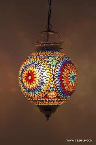 Handmade Mosaic Hanging Lamps For Hotel Multicolor Glass Lantern