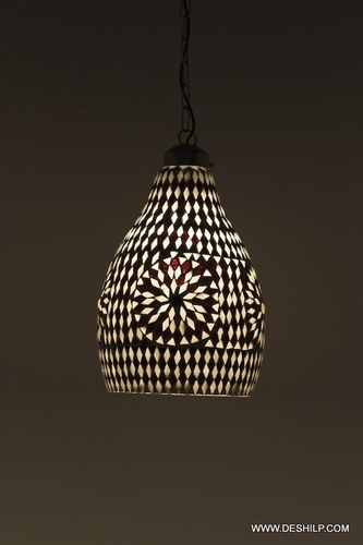 Black & White Mosaic Glass Hanging Light Decorations Handcrafted Glass Hanging