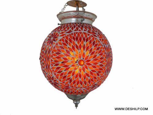 Handmade Mosaic Glass Hanging Lamp Home Decorative Glass Hanging Lamp