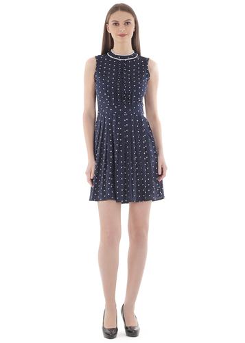 Blue Heart Print Pintex Dress