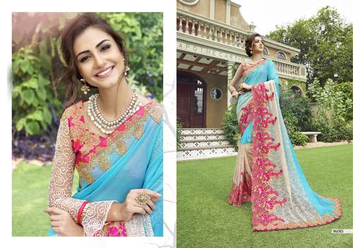 Net Chiffon Silk Heavy Embroidary saree