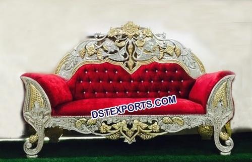 Wedding Designer Carved Red Sofa