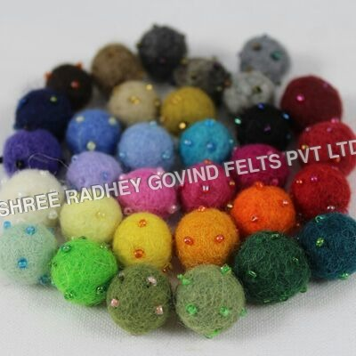 Decorative Wool Balls with Beads