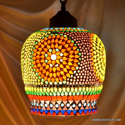 Style hanging stained glass light