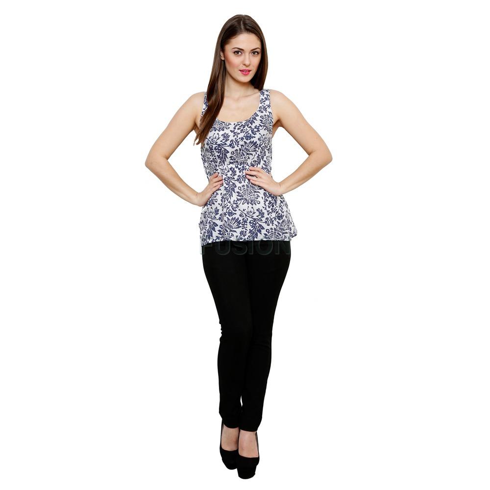 Women's Casual Printed Sleeveless Cotton Lycra Top