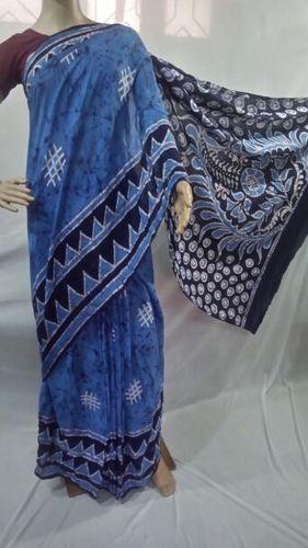 Pure Malmal Cotton Hand Batik Print Sarees