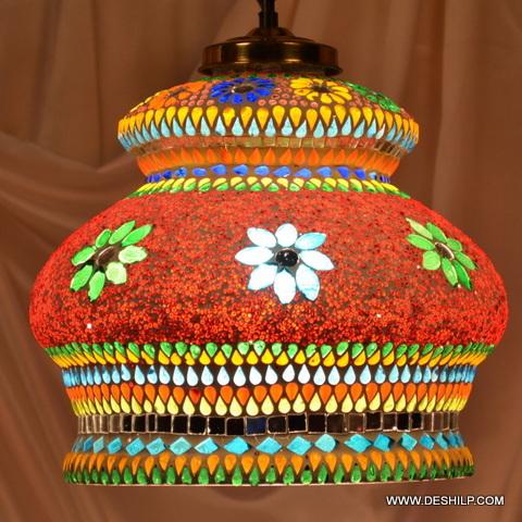 Light Night Lamp Decoration Tiffany Fos Lighting Lustrous Antique Brass Hanging Light