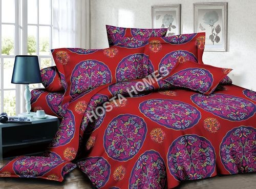 Poly Cotton Multicolor Floral New Design Bed Sheet